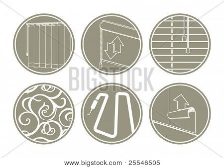Icons: window blinds, decoration, backlights, paperhanging.