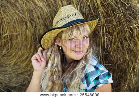 Blonde Girl`s Portrait In Cowboy Hat