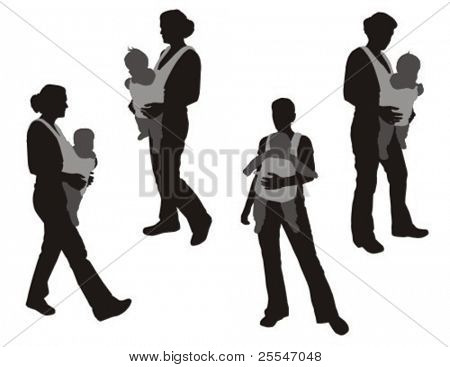Walking women with baby carrier.