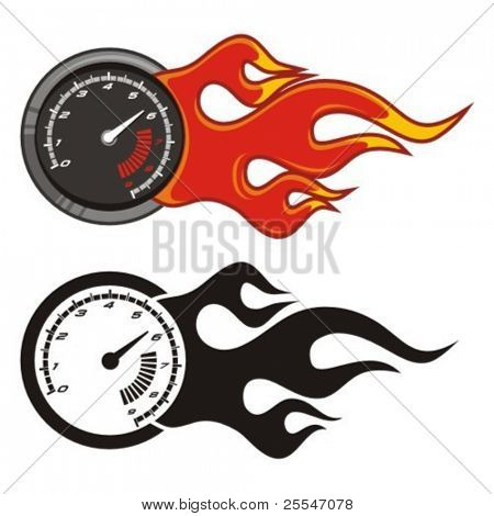 Tachometer with flame on white. Vector illustration.