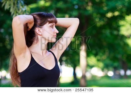 Long-hair Girl Relaxing Outdoor.