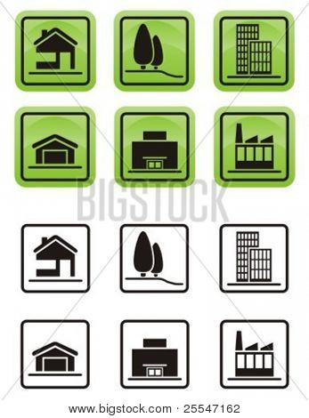 Various types of real estate icons set.