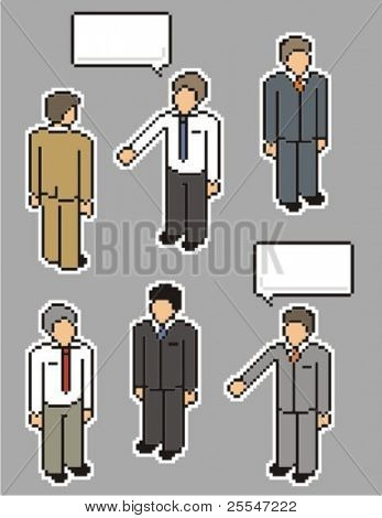 Businessman. Vector pixel art style illustration.