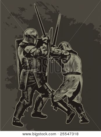 Fighting medieval knights. Vector illustration.