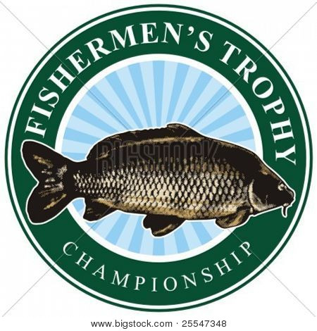 Fisher (fishermen's) vector sign with big carp.