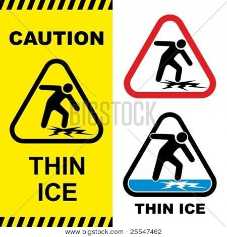 Thin ice warning sign. Vector illustration.