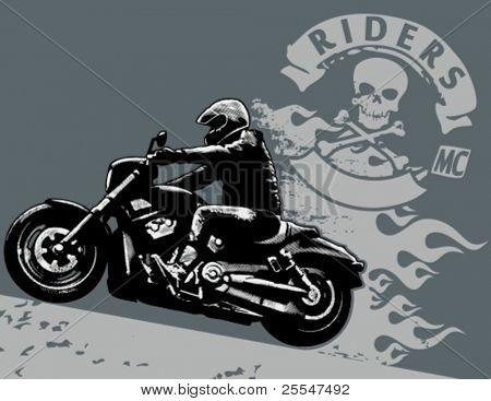 Editable vector illustration with rider. White areas are cut away and black areas merged.