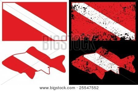 Scuba diving flag. Vector illustration.