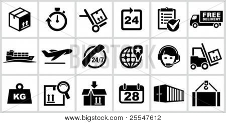 Vector black logistics and shipping icons set. All white areas are cut away from icons and black areas merged.
