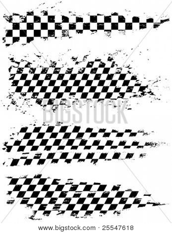 Vector set geruite racing splatters.