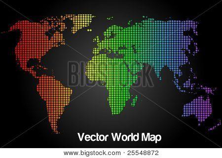 Rainbow Vector World Map