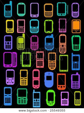 Coloured Cellphones and Smartphones in black background