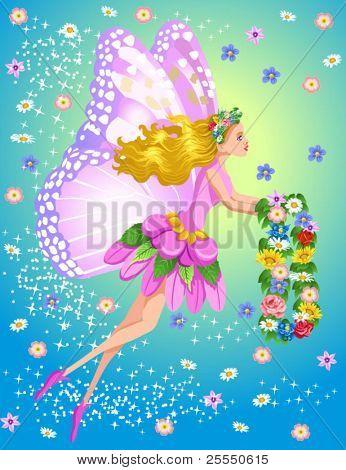 Hada de la primavera con flores