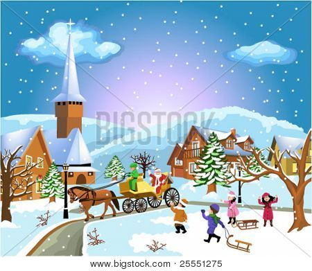 christmas scene with santa coming
