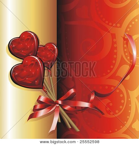 Vector illustration Holiday background. Lollipops for Valentine's Day.