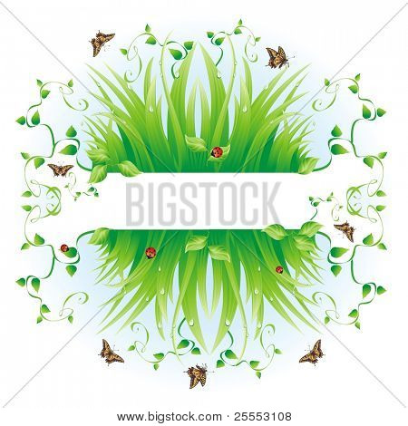 Spring background. The raster version  composition with a grass, leaves, dew, butterflies and a ladybird.
