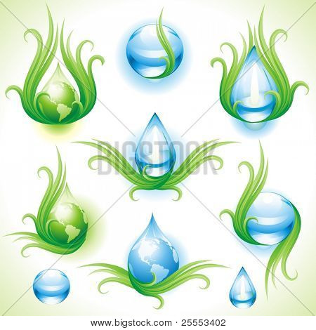 Collection of eco-icons. Vector illustration.