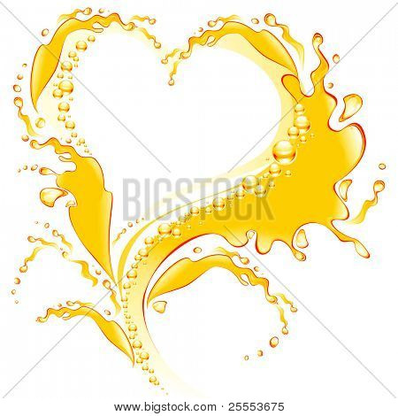 The raster version orange juice frame in the form of heart.