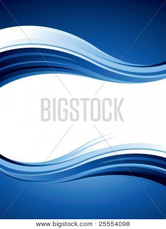 Blue abstract vector design with waves and curves