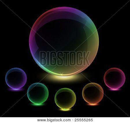 Spectrum rainbow glass spheres. Vector, eps10