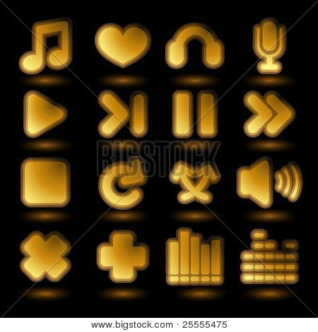 Icon set with audio control and music related elements.