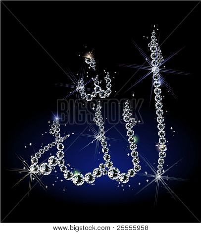 "Shiny diamond ""Allah"" arabic word - raster version"