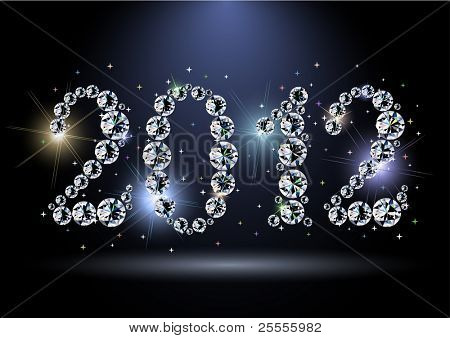 2012 year diamond digits with sparkles - eps10 vector