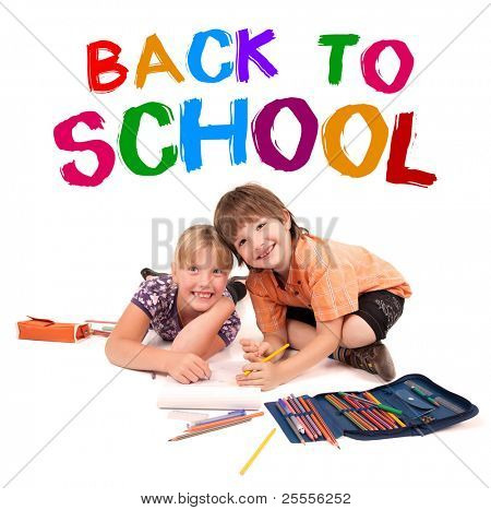 kids posing for back to school theme over white background