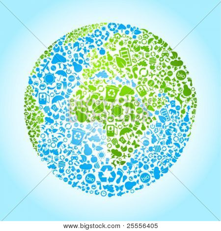 Eco earth vector icon set