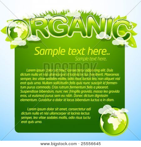 Plantilla orgánica verde con el signo y la tierra