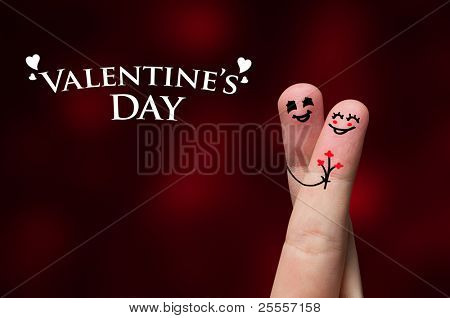 Happy finger hug on Valentines Day theme