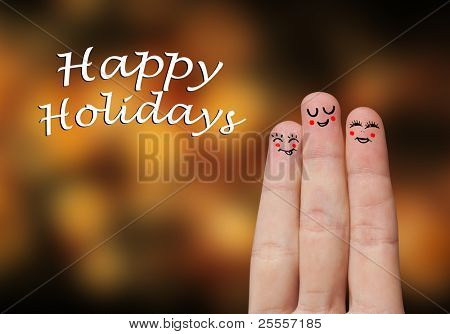 Painted finger smiley, happy holiday theme