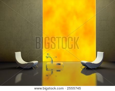 Elegant Interior With Two White Armchairs 3D Rendering