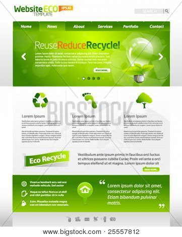 Green eco vector website template with lighbulb 2