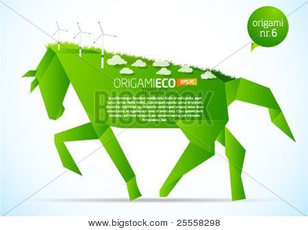 Green origami eco horse nr. 6