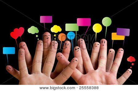Happy group of finger smileys with speech bubbles 2