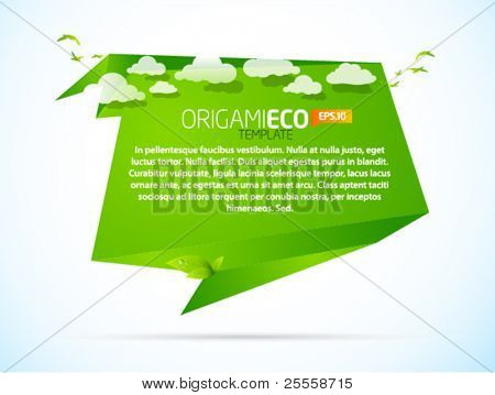 Eco friendly green origami template with clouds