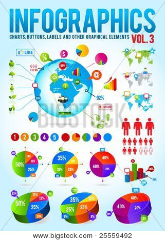 Colorful infographic vector collection with charts, labels and other graphic elements