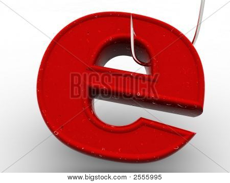 Symbol For Internet On Fishing Hook. 3D