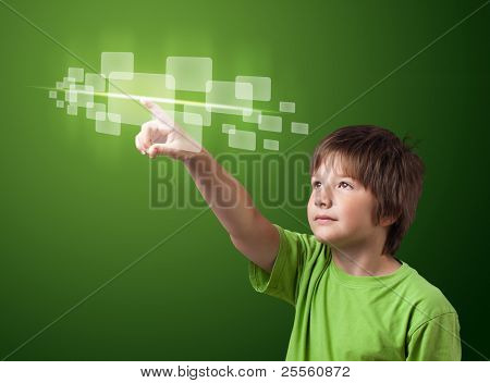 kid pressing high tech type of modern buttons on a virtual background