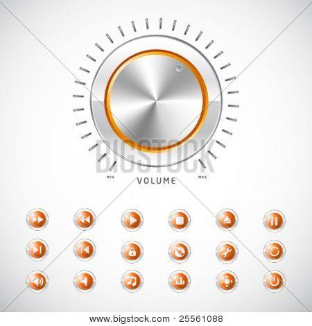 Icono de botón de media naranja con medidor de volumen