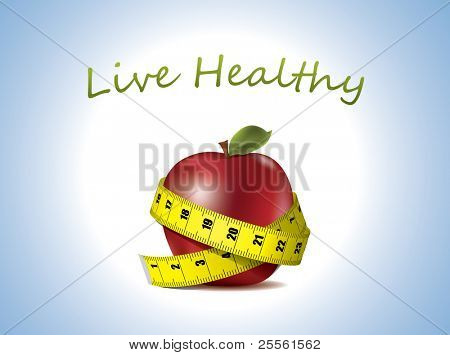 Leben Sie gesund - frischer Apfel mit Maßband