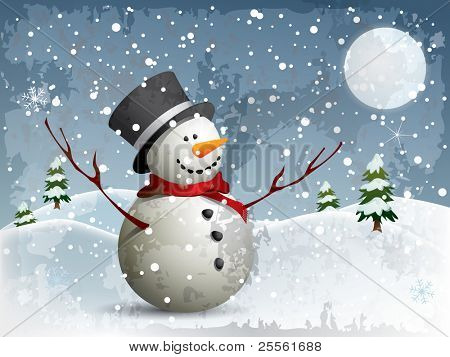 Snowman in a full moon night background