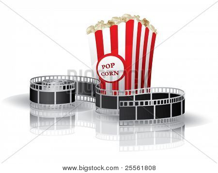 Twisted film for movie and popcorn on white background