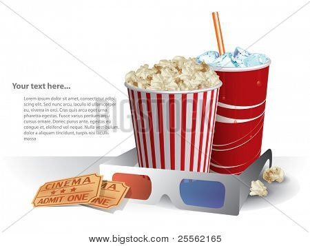 3d movie glasses with popconr and soda