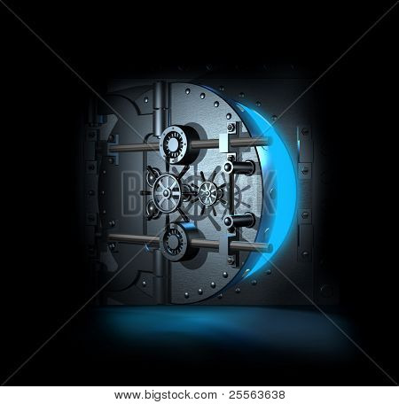 open bank vault, blue shining light inwardly, 3D render