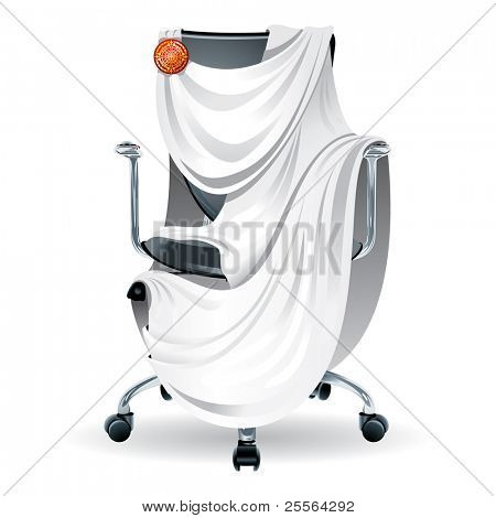 "comfortable office chair decorated with a Roman tunic. Concept ""best job"". Vector."