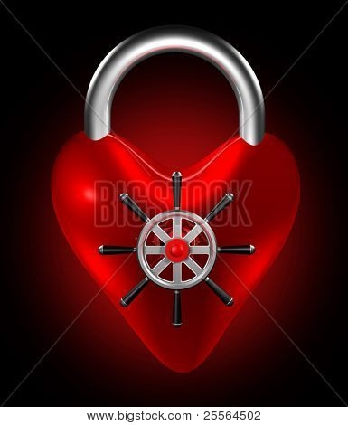 "The red heart symbol with safe-lock, the concept of ""closed heart"". 3D render."