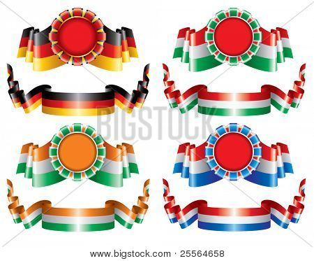 tricolor vector seals and ornate ribbons