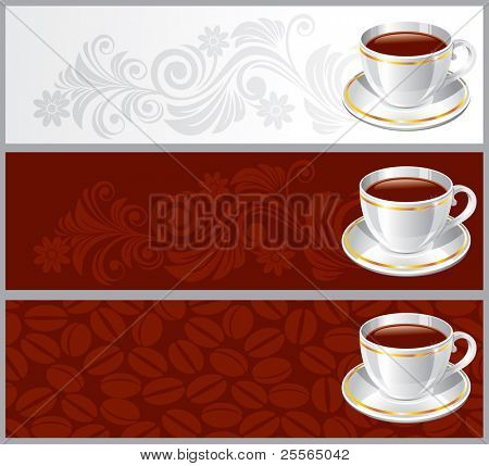 Set background with white glossy cup coffee or tea, vector illustration
